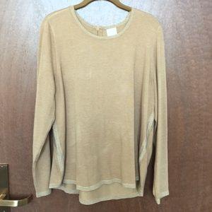 Gold sweater with metallic trim